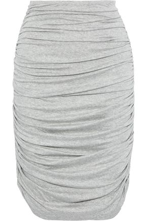 NORMA KAMALI Ruched mélange stretch-jersey skirt