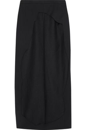 CHALAYAN Cut Away layered pinstriped twill midi skirt