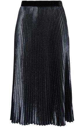 PHILOSOPHY di LORENZO SERAFINI Metallic velvet plissé midi skirt