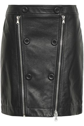MOSCHINO Zip-detailed textured-leather mini skirt