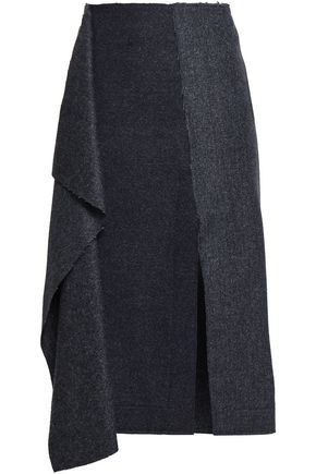 CEDRIC CHARLIER Draped herringbone wool and cashmere-blend skirt