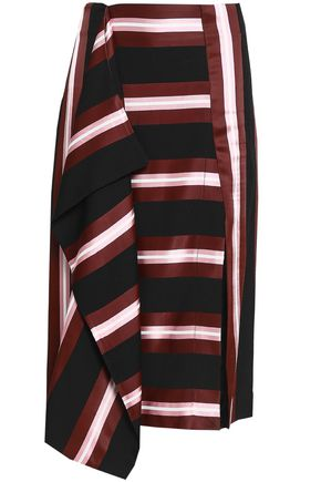 CEDRIC CHARLIER Draped striped twill skirt