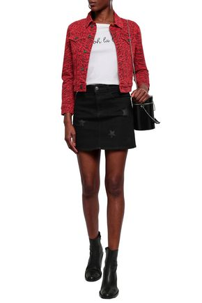 CURRENT/ELLIOTT Printed denim mini skirt
