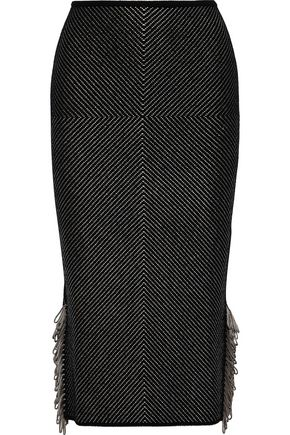 ROLAND MOURET Redford fringed knitted skirt