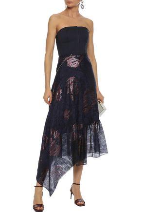 ROLAND MOURET Dillon asymmetric fil coupé silk-blend midi skirt