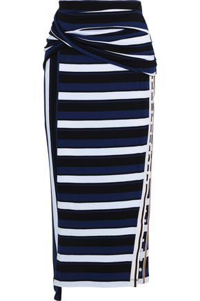 3.1 PHILLIP LIM Button-detailed twisted striped cotton-jersey midi skirt