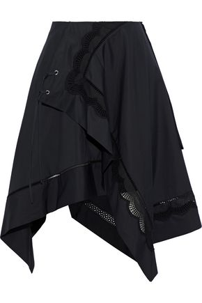 3.1 PHILLIP LIM Wrap-effect asymmetric broderie anglaise cotton-poplin skirt