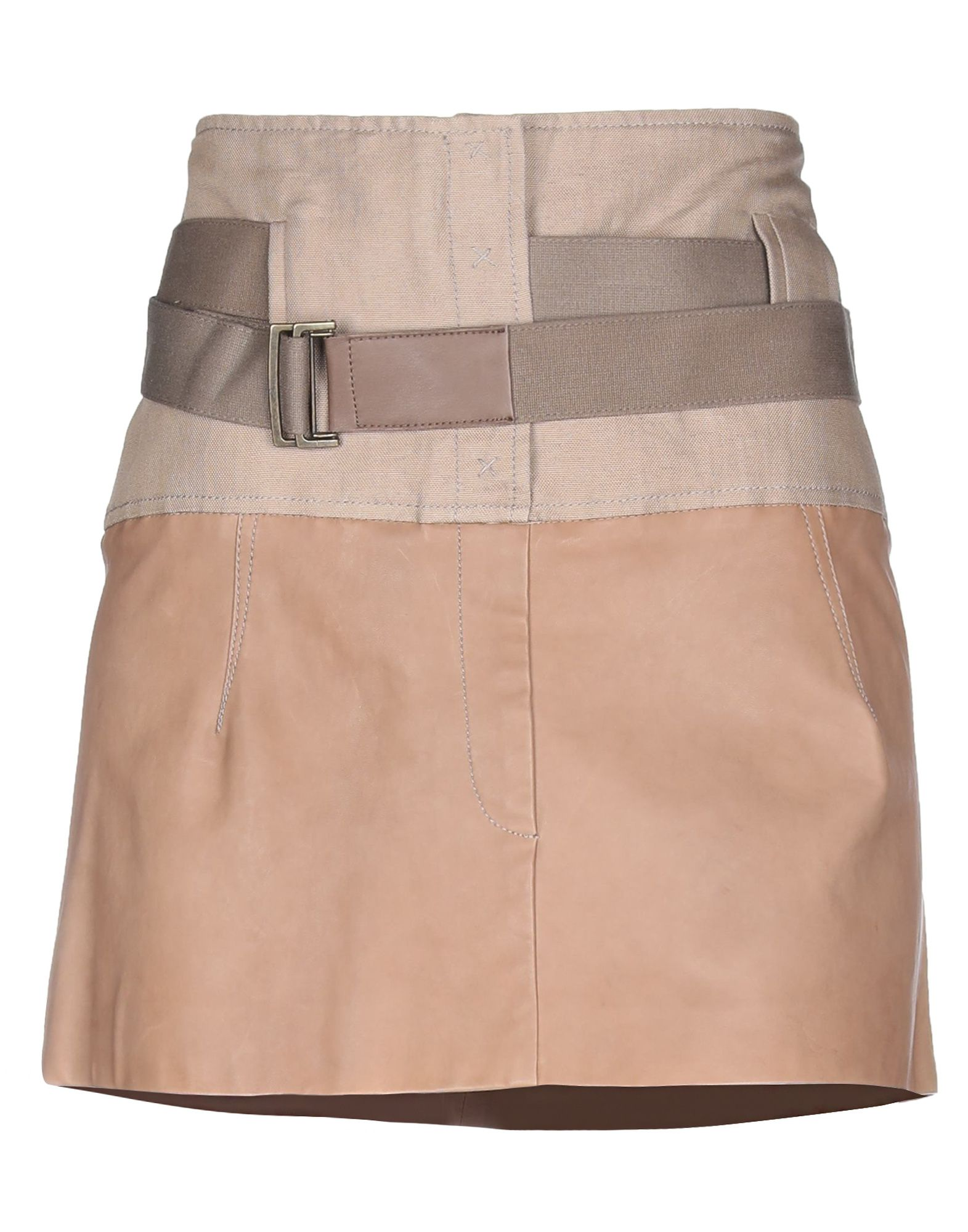 BRUNELLO CUCINELLI Mini skirts. leather, canvas, belt, two-tone, no pockets, front closure, snap button fastening, unlined, contains non-textile parts of animal origin, large sized. 52% Cotton, 48% Ramie, Soft Leather