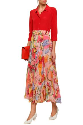 BOUTIQUE MOSCHINO Printed silk-chiffon maxi skirt