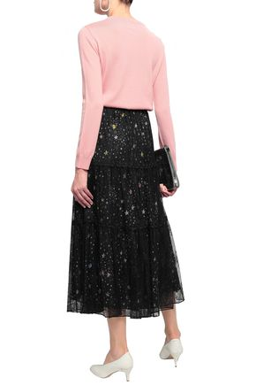 BOUTIQUE MOSCHINO Layered Chantilly lace and satin midi skirt