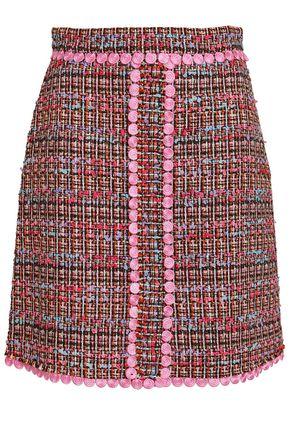 BOUTIQUE MOSCHINO Appliquéd bouclé-tweed mini skirt