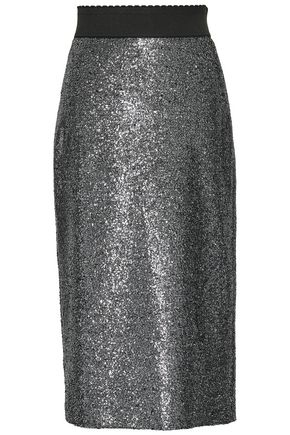 BOUTIQUE MOSCHINO Metallic coated bouclé pencil skirt