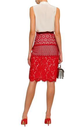 BOUTIQUE MOSCHINO Appliquéd paneled crochet and corded lace skirt