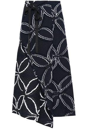 213b62a9a ROLAND MOURET Fellini wrap-effect cotton-blend jacquard midi skirt