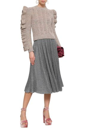 PHILOSOPHY di LORENZO SERAFINI Pleated metallic jersey midi skirt