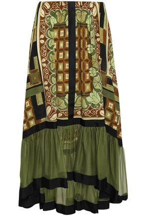 ALBERTA FERRETTI Paneled printed silk midi skirt