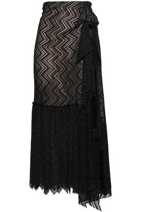 ROLAND MOURET Knotted draped lace midi skirt