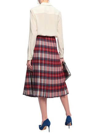 BOUTIQUE MOSCHINO Pleated checked crepe midi skirt