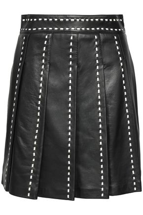 BOUTIQUE MOSCHINO Embroidered pleated leather mini skirt