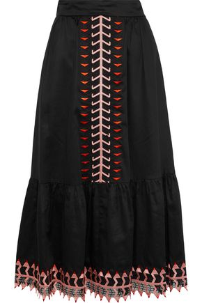 TEMPERLEY LONDON Agnes embroidered tulle-trimmed cotton midi skirt