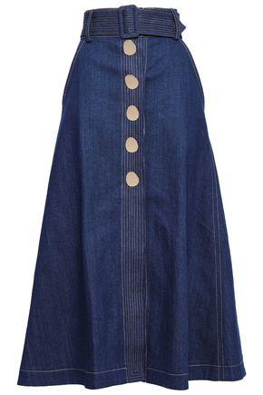 PAPER London Button-embellished denim maxi skirt