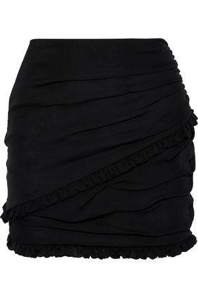 MAGDA BUTRYM Reims ruffle-trimmed ruched silk mini skirt
