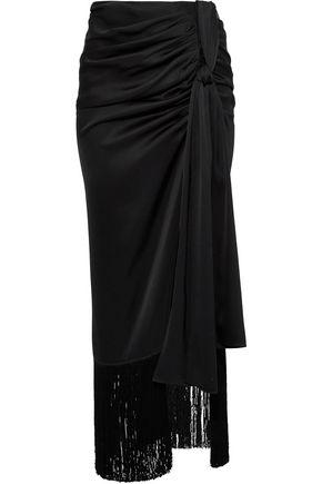MAGDA BUTRYM Asti wrap-effect fringe-trimmed silk-satin maxi skirt