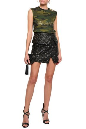 baed633d BALMAIN Wrap-effect studded quilted leather mini skirt