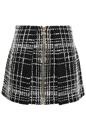 BALMAIN Zip-detailed bouclé-tweed mini skirt