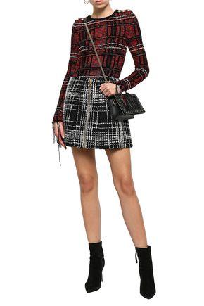 BALMAIN Zip-detailed bouclé-tweed mini skirt