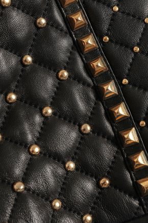 BALMAIN Studded quilted leather mini skirt