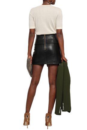 BALMAIN Wrap-effect leather mini skirt