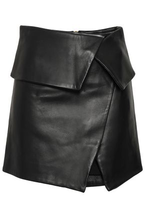 BALMAIN Wrap-effect leather mini skirt