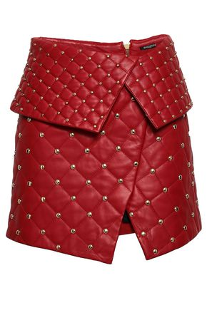 BALMAIN Wrap-effect studded quilted leather mini skirt