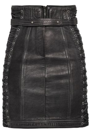 BALMAIN Eyelet-embellished leather mini skirt