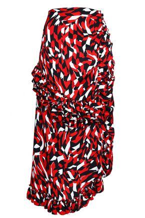 MARNI Ruffled printed crepe midi skirt