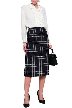 OSCAR DE LA RENTA Checked cotton-blend midi pencil skirt