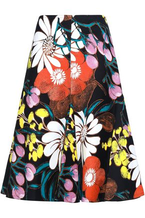 MARNI Flared floral-print cotton and linen-blend midi skirt