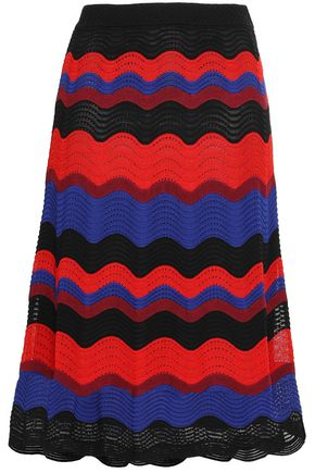 M MISSONI Striped crochet-knit midi skirt