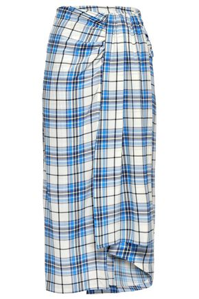 PAPER London Draped checked silk midi skirt