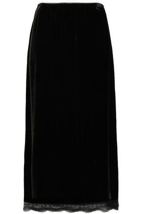 McQ Alexander McQueen Lace-trimmed scalloped velvet midi skirt