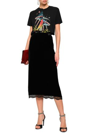 e7fc7d6be792f McQ Alexander McQueen Lace-trimmed scalloped velvet midi skirt