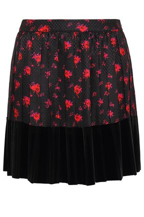 McQ Alexander McQueen Velvet-paneled pleated silk-jacquard mini skirt