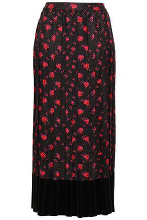 McQ Alexander McQueen Velvet-trimmed floral-print silk-jacquard midi skirt