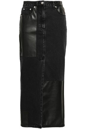 McQ Alexander McQueen Split-front denim and faux leather midi skirt