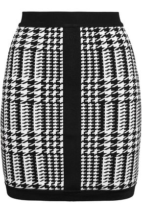 BALMAIN Houndstooth stretch-ponte mini skirt