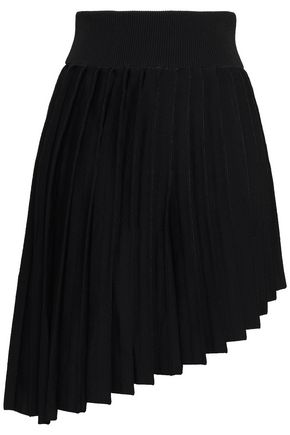 BALMAIN Asymmetric pleated ponte mini skirt