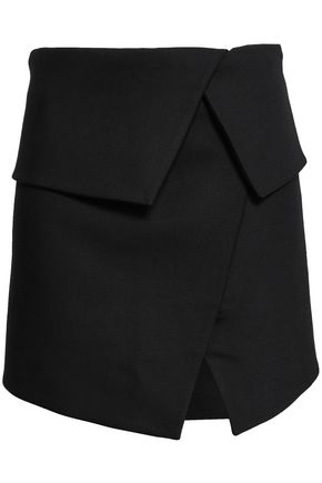 BALMAIN Layered wool-blend mini skirt