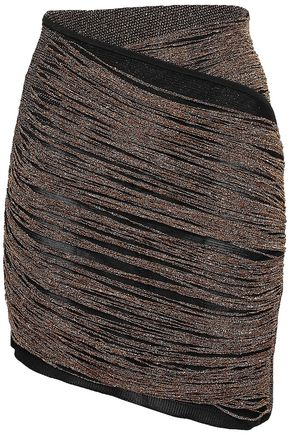 BALMAIN Asymmetric metallic knitted mini skirt