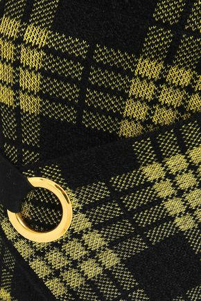 BALMAIN Wrap-effect embellished jacquard-knit mini skirt
